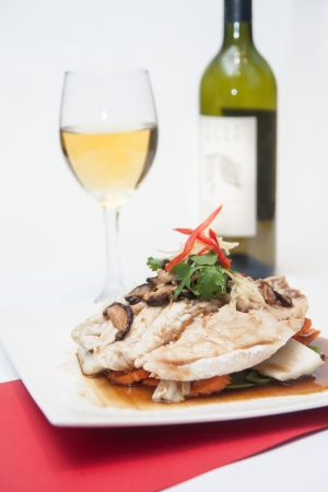 Steam fish fillet with soy sauce   Stock Photo