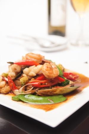 Thai stir fried seafood with tom yum sauce