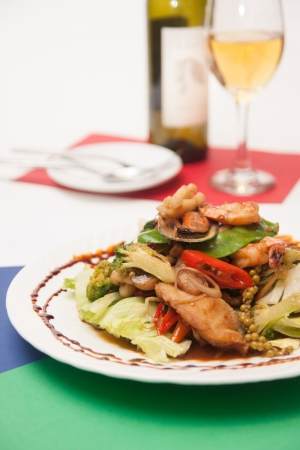 Thai stir fried seafood with Thai herb