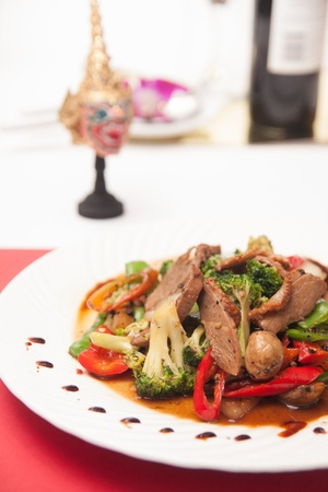 Stir fried grill duck with black pepper   Stock Photo
