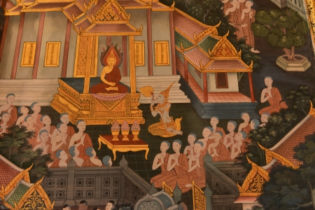 masterpiece of traditional Thai style painting art old about Buddha photo
