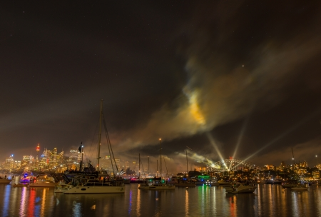 Firework and light show during International fleet review in Sydey