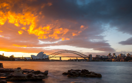Sunset at Opera house from The Sydney harbour