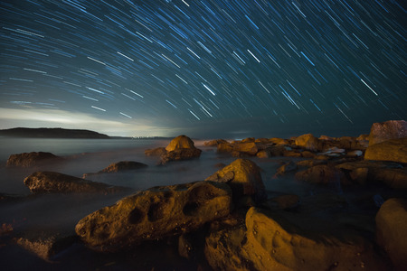 star trail: Star trail in Palm beach, Sydney.