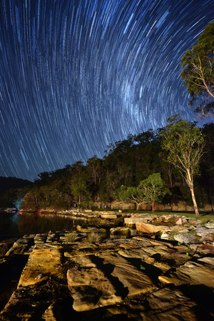 star trail: Star trail in Sydney. Stock Photo