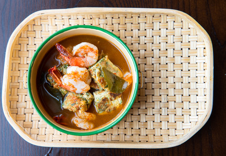 thai chili pepper: Thai Spicy soup with prawn.