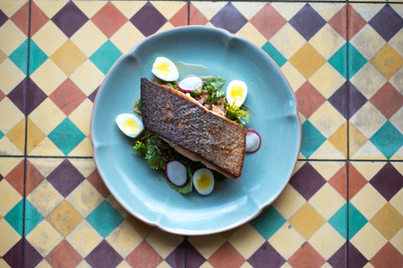 Grill salmon steak in Thai style. Stock Photo
