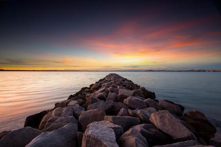 seascape: Seascape during sunrise. Beautiful natural seascape