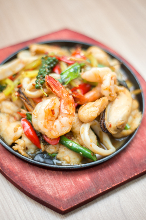 Seafood sizzling with Thai basil sauce
