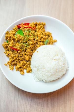 santa cena: revuelo de carne picada de pollo frito con arroz Foto de archivo