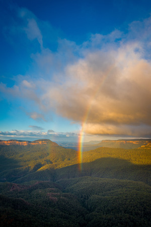 Rainbow over Blue mountains national park.