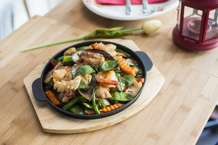 Sizzling basil seafood