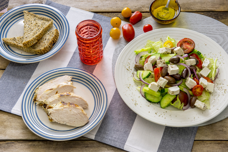 Greek salad fresh vegetaables with fetta cheese Stock Photo
