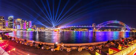Panorama of Vivid Sydney 2017 Reklamní fotografie - 83077281