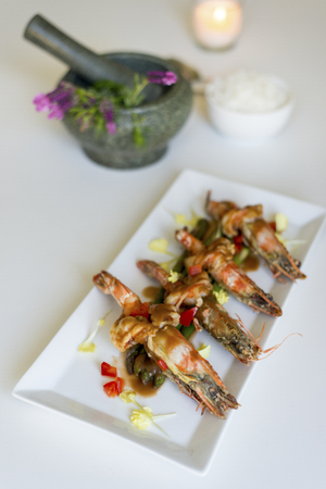 tamarindo: King prawn with Tamarind sauce Foto de archivo