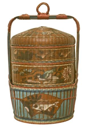 adzuki bean: Three-tiered vintage basket traditionally used to present the bride gift for Chinese weddings. Traditional bride gifts include gold, liquor, fruits and special lotus and adzuki bean paste pastries.