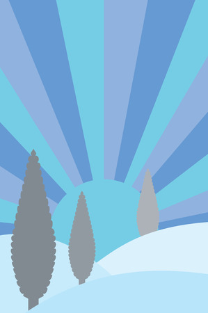Landscape vector illustration with conifers and sunset  Vector