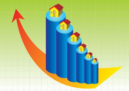 cute little houses resting on cylinders showing the growth in real estate market with the chart in background