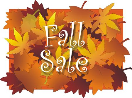 Fall sale sign with Maple leaf design background in vibrant multicolors Stock Photo