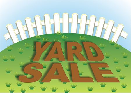 Yard sale sign in the backyard of the house Stock Photo
