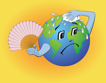 The cartoon earth wiping the sweat on it's forehead and trying to keep cool with the help of a handfan