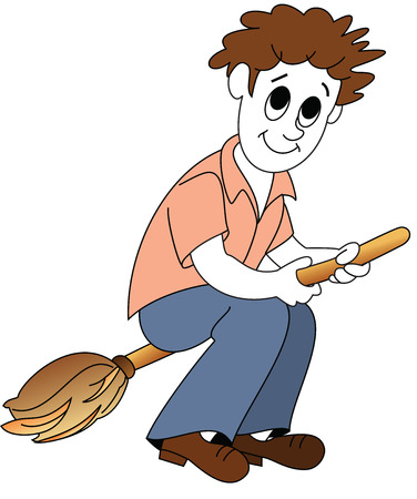 cleanliness: A cute character - Broom man teaching you the importance of cleanliness. Illustration