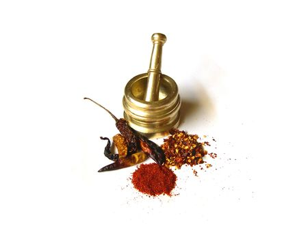 Chilies- Whole, Powder and Flakes with Mortar