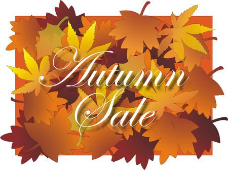 Autumn sale sign with Maple leaf design background in vibrant multicolors