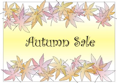 Autumn sale sign with pastle leaves border