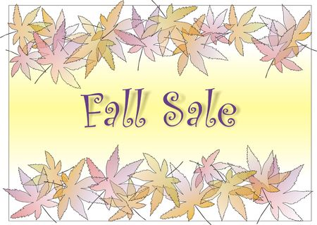 Fall sale sign with pastle leaves border