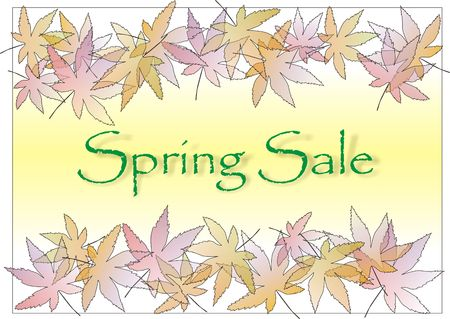 Spring sale sign with pastle leaves border Stock Photo