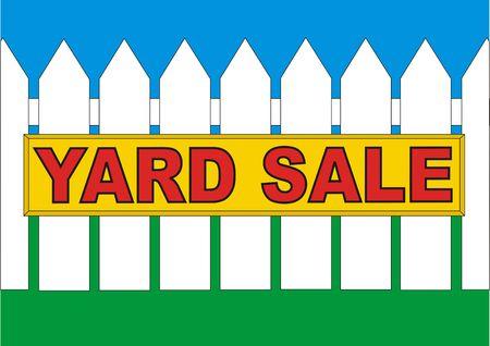 Yard koop bord op het hek in de achtertuin van het huis