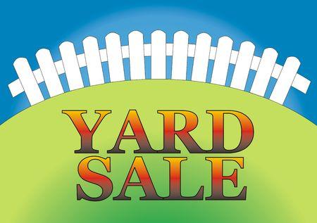 Yard verkoop teken in de achtertuin van het huis
