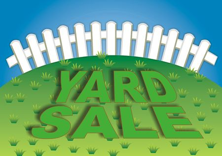 Yard sale sign in the backyard of the house Stok Fotoğraf