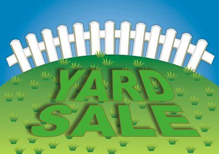 Yard sale teken in de achtertuin van het huis