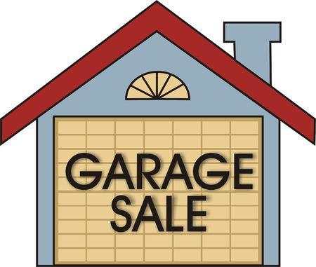 Big garage sale sign on the garage door