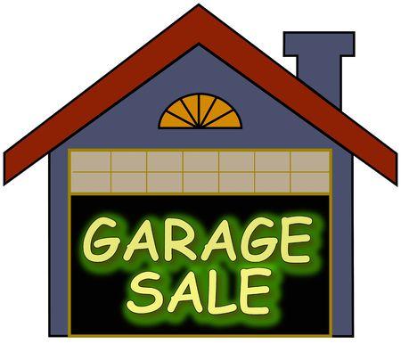Big glowing garage sale sign inside the garage