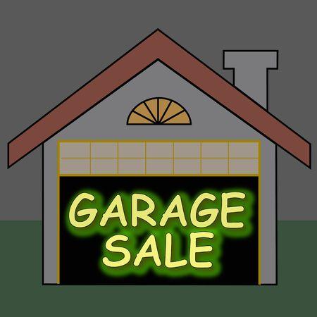 Big glowing garage sale sign inside the garage photo