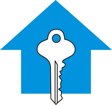 Symbol for Real Estate- Key to the House Stock Photo