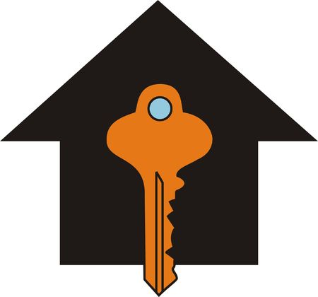 Symbol for Real Estate Key to the House Stock Photo