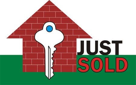 Just sold sign with house and key photo