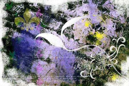 A very grungy purple design with decorative elements Stock Photo