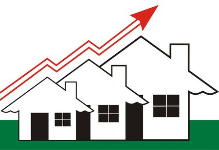 Growth in Real Estate shown on white Background  Stock Photo