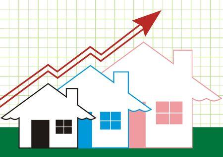 Groei in onroerend goed weer gegeven op Green-Graph  Stockfoto