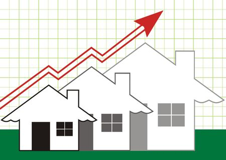 Growth in Real Estate shown with Grey Houses Stock Photo