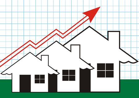 Growth in Real Estate shown on Blue Graph Stock Photo