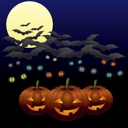 public celebratory event: Three Halloween lanterns with glitering eyes and flying bats on a moonlit dark background.