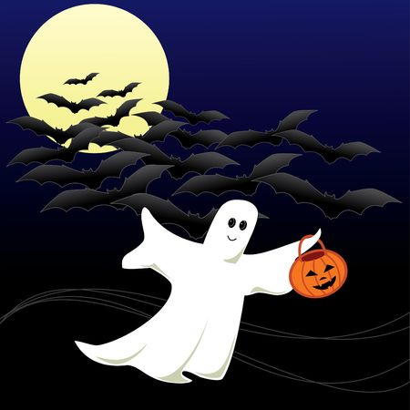 A Halloween Ghost  going for Trick or Treating with a pumpkin bucket in his hand. Flying bats on a moonlit dark sky in the background. Stock Photo