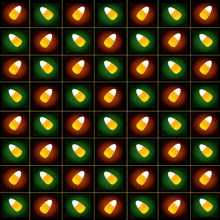 Seamless tiled colorful candycorn pattern on black background