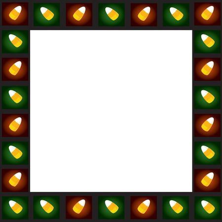 Tiled colorful candycorns with black frame on white